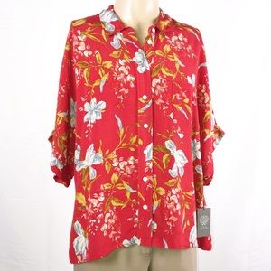 Vince Camuto Red Floral Buttons & Collar Blouse 1X